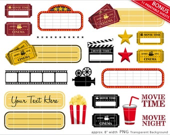 Movie Night Clipart Time Clip Art Printable Digital Paper For Scrapbooking Stickers
