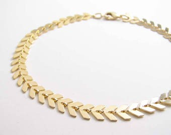 Golden Chevron Anklet, Arrow Anklet, Fishbone Anklet, Foot Jewelry, Summer Jewelry, Bridesmaid Gift, Beach Wedding, Gold Anklet