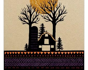 Prairie Rows - 11 x 14 inch Cut Paper Art Print
