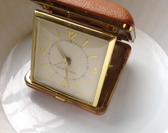 Vintage travel clock, small travel clock, wind up clock, foldable clock, westclox clock, brown small clock, small brown clock, desk clock