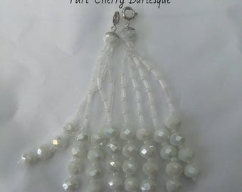 White Beaded Nipple Tassels for Burlesque Pasties