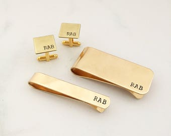 Gold Groomsmen gifts, Gift for him, Personalized gifts, Custom gift for him, initials, monogram, money clip, tie clip, cufflinks