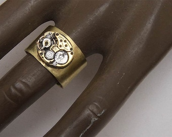 Ring ring 'old watch mechanism' and small rubies man or woman