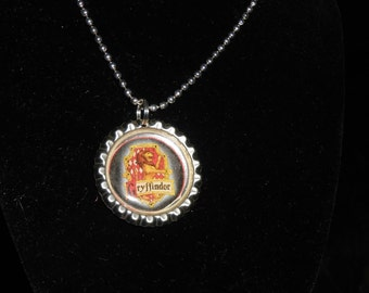 Gryffindor and Hogwarts bottle cap necklaces. Harry Potter house inspired party favors.