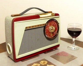 Bluetooth speaker 1958 Radiola model RA389T transistor radio.