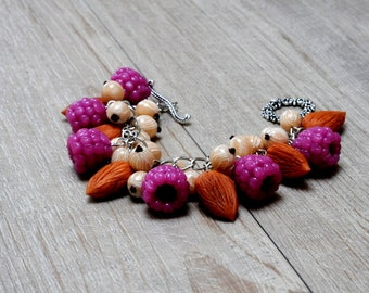"Charm bracelet ""Almonds and raspberries"" polimere fimo clay"