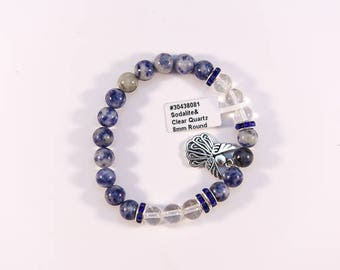 Cute Sodalite and Clear Quartz bracelet.