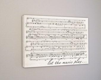 Custom Overlapping Sheet Music Notes, Wall Art, First Dance Wedding Sheet Music, Mixed Media, Old Music Sheet, Vintage Wall Sign