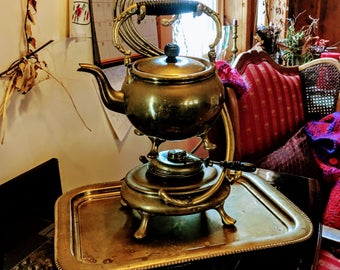 Antique Brass Teapot w Stand Heater and Tray Samovar Complete A Beauty