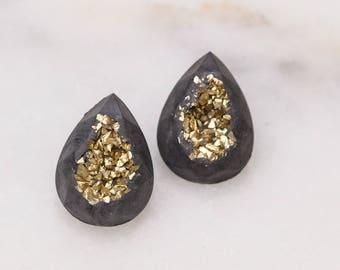 Concrete Teardrop Gold Druzy Earrings