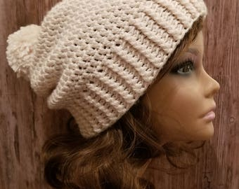 Slouchy Hat made to order with Pom Pom