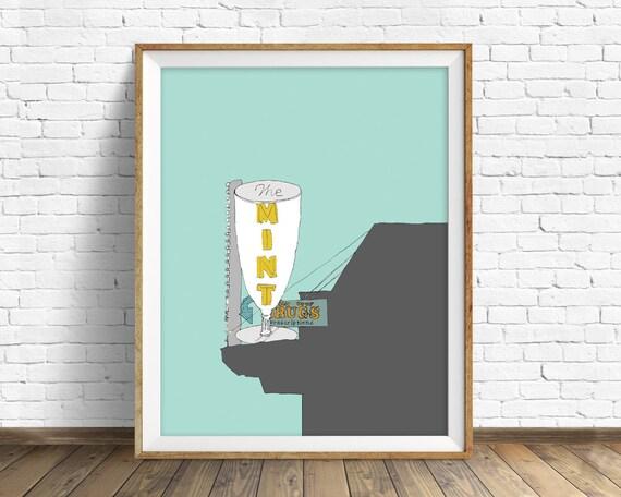"art print, drawing, ink drawing, wall art, wall art prints, bar sign, vintage neon sign, vintage sign, home decor, colorful -""The Mint Bar"""