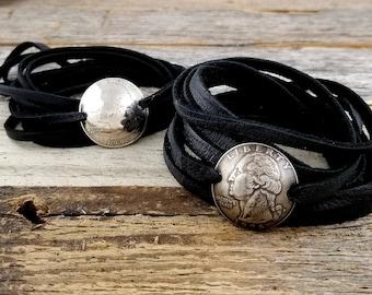 Leather Wrap Bracelet - Coin Bracelet - Domed Coin Bracelet - 1965-1998 Custom Date - Leather Bracelet - Anniversary Gift for Her - Birthday