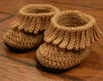 Baby Boots : Short Moccasin Boots, Fringe Boots Newborn-3 Months, 3-6 Months, 6-12 Months, 12-18 Months