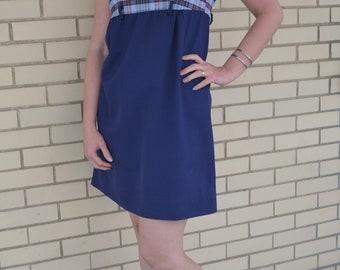 60s Plaid Shift, Vintage Dress Petites or Juniors, 1960s Navy Blue Dress, Sleeveless Cotton, Schoolgirl Style