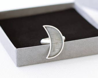 Crescent Moon Statement Sterling Silver Ring, Frame Moon Modern Silver Ring