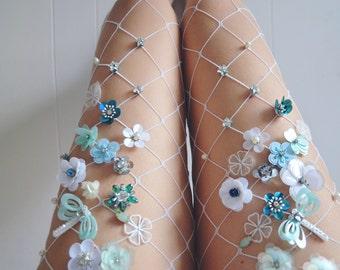 Mint Flowery Fishnet Tights