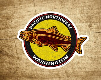 "Washington Pacific Northwest Decal Sticker 3.5"" x 2 3/8"" Tribal Salmon"