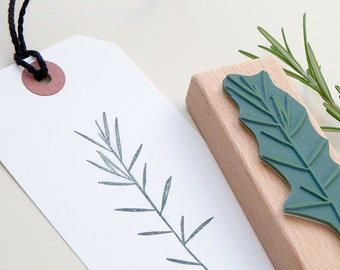 Rosemary Stamp, Floral Rubber Stamp, Rosemary twig Stamp, Flower Stamp, Botanical Stamp, Stamp Gift Tags, Wooden Stamp, Plant Stamp, Herbs