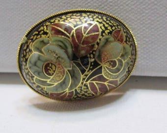 vintage cloisonne brooch domed hand painted