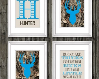 Camo nursery decor, boys nursery decor, buck deer nursery art for boys, eight point buck, hunting theme, ducks and trucks, blue and camo