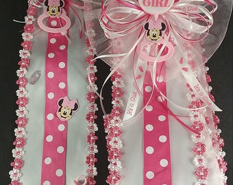 Pink Its A Girl Baby Minnie Mouse Baby Shower Sash U0026 Tie Set
