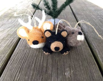Woodland Critters Ornaments - Needle Felted