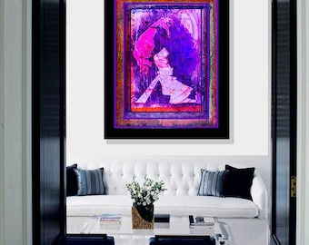 MysteryWoman 2 - Abstract art, face portrait painting, limited edition print giclee, mixed media collage monotype, modern contemporary folk