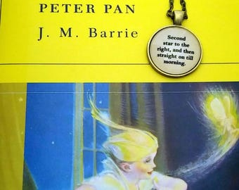 Peter Pan Quote J.M. Barrie - Second star to the right and then straight on till morning. Necklace or Key Ring