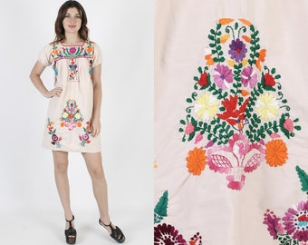 Womens Mexican Dress Ethnic Dress Boho Dress Beige Dress Vintage 70s Floral Embroidered Fiesta Puff Sleeve Hippie Cotton Mini Dress S