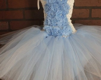 Floral tutu dress, shabby tutu dress, pearl centers, infant tutu dress, toddler tutu dress, photo prop, tutu, clothing, girls tutu dress