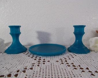Blue Glass Unity Wedding Candle Holder Set Beach Cottage Coastal Seaside California Nautical Tropical Island Home Decor Pillar Taper Gift