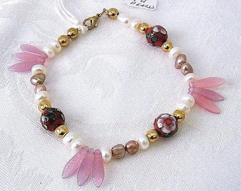 Handcrafted Bracelet with Freshwater Pearls, Cloisonne, Metal & Glass Beads