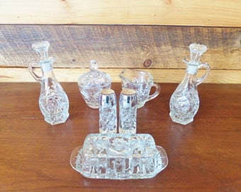 Vintage Mid Century Glass Serving Pieces - Anchor Hocking Prescut Glass - 11 Piece Table Service Set - Butter Dish, Cruets, Sugar Bowl