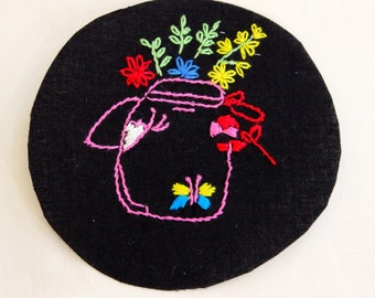 Hand Embroidered Flower Jar Iron on Patch