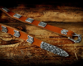Birka Belt, Viking Belt, Natural leather and Silver plated Bronze ornaments