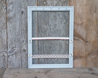 Jewelry Frame - Distressed Parisian Grey Frame - Vintage Style Glass Knobs - Hair Accessory Jewelry Organizer
