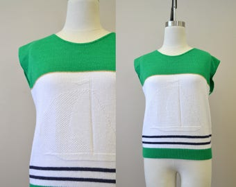 1980s Nautical Striped Sweater