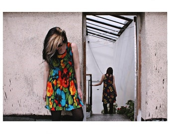 Little Sunflowers and Love-in-idlenesss- Stretchy 90s Dresses, Floral VNTG Colorful 90s Dresses