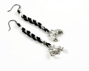 Long Dangle Bat Earrings - Halloween Jewelry - Gothic Earrings - Black and White Seed Bead Earrings - Beaded Bat Jewelry