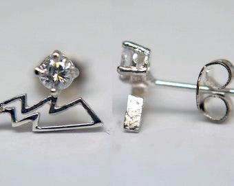 925 Sterling Silver Lightening Thunder Bolt Earrings