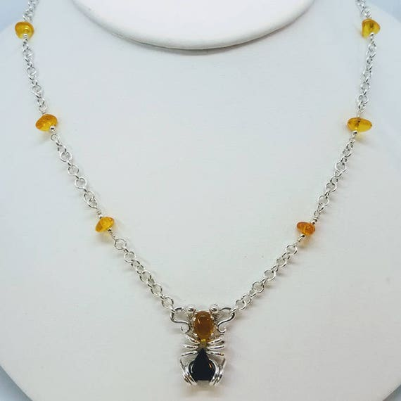 Baltic Amber And Onyx Triangle Necklace With 18 Inch Hanccrafted Link Chain