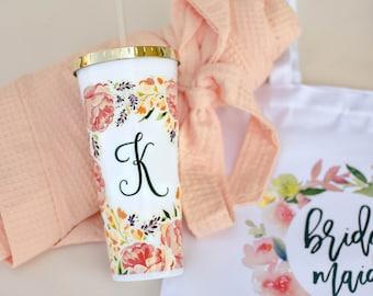 Personalized Bridesmaid Tumbler - Monogram Floral Tumbler - Maid of Honor Gift (TB01)
