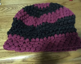 Pink and Grey Striped Hat