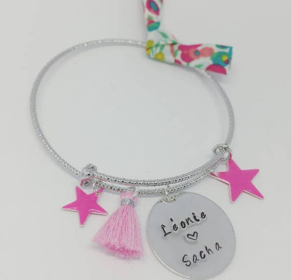 """Personalized Bangle featuring a PINK """"Hello love"""" Personalized engraving by Palilo"""