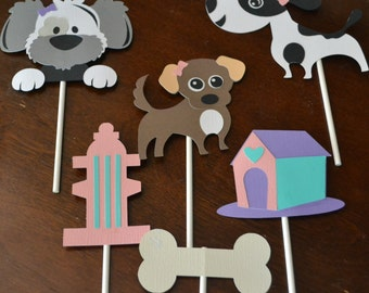 Dog Birthday Party Cupcake Toppers, Puppy Birthday Party Cupcake Toppers