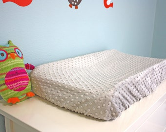 Changing Pad Cover | Gray Minky Dot