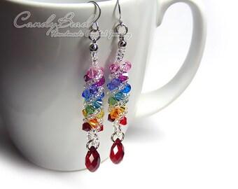 Swarovski earrings;crystal earrings; Spectrum rainbow twisty Swarovski Crystal by CandyBead (E009-04)