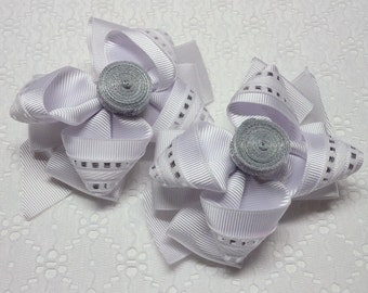 PAIR OF BOWS white girls hair bow french barrettes. hair accessory. first communion