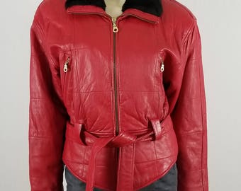 JACQUELINE FERRAR VTG 1980s Red Leather Zippered front belted Jacket size Small